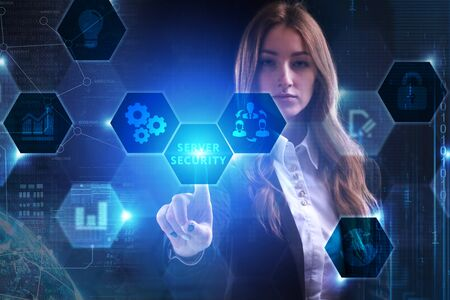 Business, Technology, Internet and network concept. Young businessman working on a virtual screen of the future and sees the inscription: Server security Stock fotó - 133489562