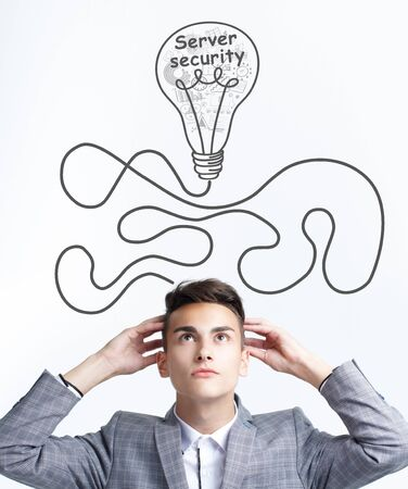 Business, technology, internet and network concept. The young entrepreneur had the keyword: Server security