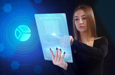 Business, Technology, Internet and network concept. Young businessman working on a virtual screen of the future and sees the inscription: Reklamní fotografie - 135497421