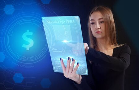 Business, Technology, Internet and network concept. Young businessman working on a virtual screen of the future and sees the inscription: Reklamní fotografie - 135497209
