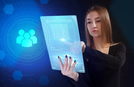 Business, Technology, Internet and network concept. Young businessman working on a virtual screen of the future and sees the inscription: Reklamní fotografie - 135500212