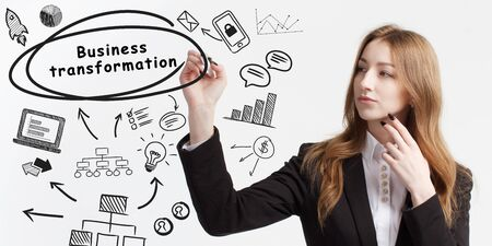 Business, technology, internet and network concept. Young businessman thinks over ideas to become successful: Business transformation