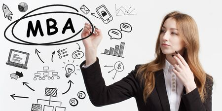 Business, technology, internet and network concept. Young businessman thinks over ideas to become successful: MBA