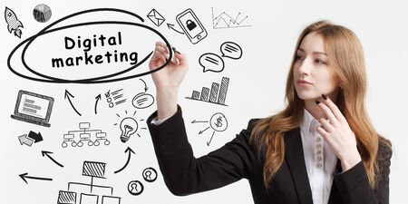 Business, technology, internet and network concept. Young businessman thinks over ideas to become successful: Digital Marketing Reklamní fotografie