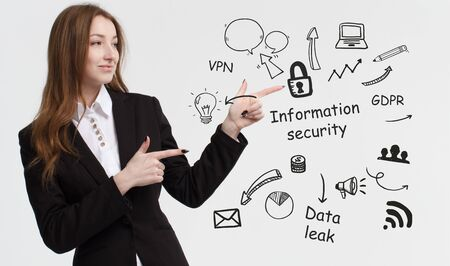 Business, technology, internet and network concept. Young businessman thinks over ideas to become successful: Information security Stock Photo
