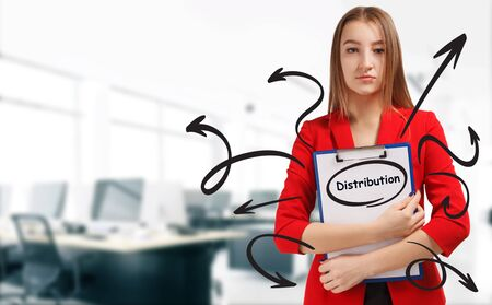Business, technology, internet and network concept. Young businessman shows a keyword: Distribution