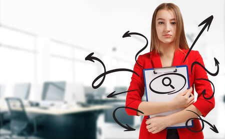 Business, technology, internet and network concept. Young businesswoman shows a keyword: research