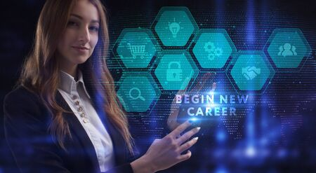 Business, Technology, Internet and network concept. Young businesswoman working on a virtual screen of the future and sees the inscription: Begin new career Stock fotó
