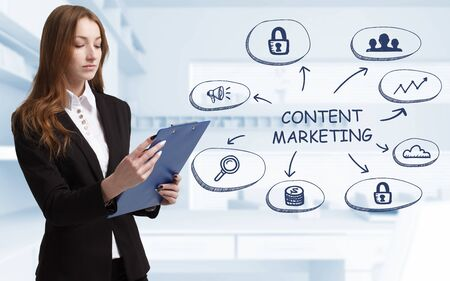 Business, technology, internet and network concept. Young businessman thinks over the steps for successful growth: Content marketing Фото со стока