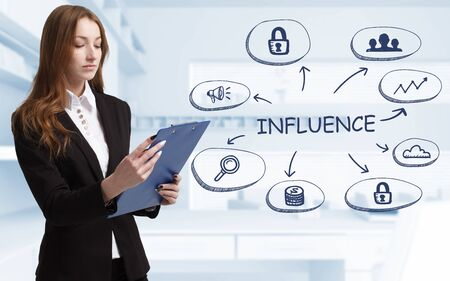 Business, technology, internet and network concept. Young businessman thinks over the steps for successful growth: Influence