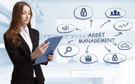 Business, technology, internet and network concept. Young businessman thinks over the steps for successful growth: Asset management Фото со стока