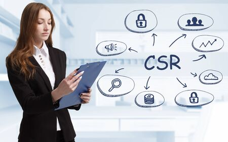 Business, technology, internet and network concept. Young businessman thinks over the steps for successful growth: CSR