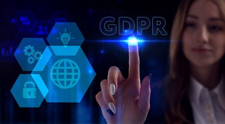 Business, Technology, Internet and network concept. Young businessman working on a virtual screen of the future and sees the inscription: GDPR Stok Fotoğraf