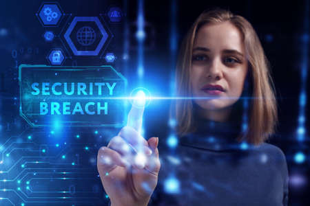 Business, Technology, Internet and network concept. Young businesswoman working on a virtual screen of the future and sees the inscription: Security breach 스톡 콘텐츠