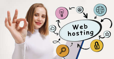 Business, technology, internet and network concept. Young businesswoman thinks over the steps for successful growth: Web hosting