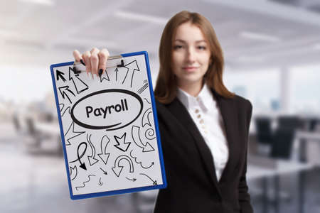 Business, technology, internet and network concept. Young businessman thinks over the steps for successful growth: Payroll