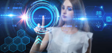 Business, technology, internet and network concept. Young businessman thinks over the steps for successful growth: Asset management Banco de Imagens