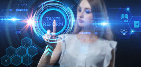 Business, technology, internet and network concept. Young businessman thinks over the steps for successful growth: Taxes reform Banco de Imagens