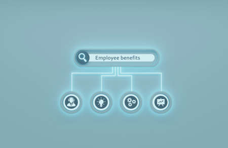 Internet, business, Technology and network concept. Shows the inscription: EMPLOYEE BENEFITS.