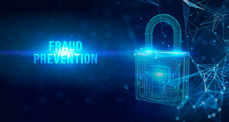 Business, technology, internet and networking concept.Fraud prevention word on virtual screen.3D illustration.