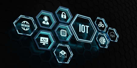 Internet of things - IOT concept. Businessman offer IOT products and solutions. Internet, business, Technology and network concept 版權商用圖片