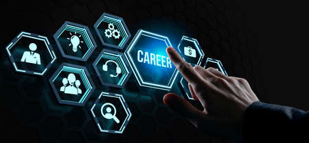Career - Internet, business, Technology and network concept. Coach motivate to career growth. Personal development, personal and career growth. Potential concepts