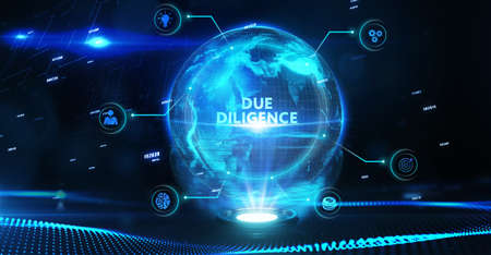 Business, Technology, Internet and network concept. virtual screen of the future and sees the inscription: Due diligence