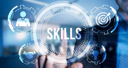 Internet, business, Technology and network concept. Coach motivation to skills improvement. Education concept. Training. Leadership skills. Human abilities