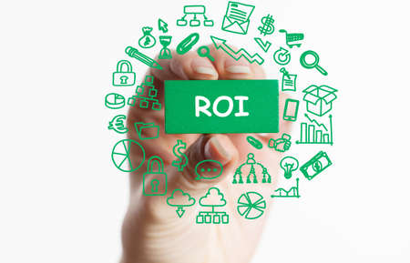 ROI Return on investment financial growth concept. Business, Technology, Internet and network concept.