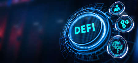 DeFi -Decentralized Finance on dark blue abstract polygonal background. Concept of blockchain, decentralized financial system. Фото со стока