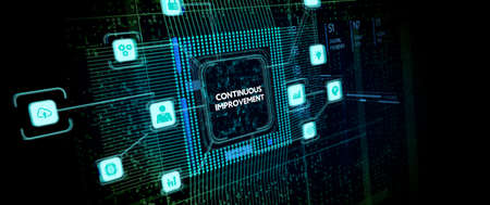The concept of business, technology, the Internet and the network. virtual screen of the future and sees the inscription: Continuous improvement Фото со стока