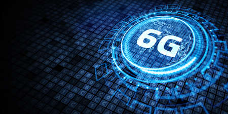 The concept of 6G network, high-speed mobile Internet, new generation networks. Business, modern technology, internet and networking concept Фото со стока