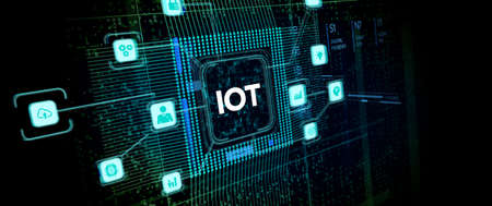 Internet of things - IOT concept. Businessman offer IOT products and solutions. Фото со стока