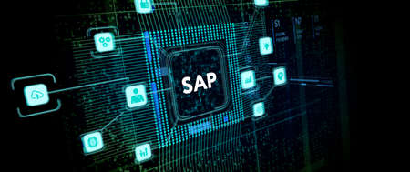 SAP System Software Automation concept on virtual screen data center. Business, modern technology, internet and networking concept Фото со стока