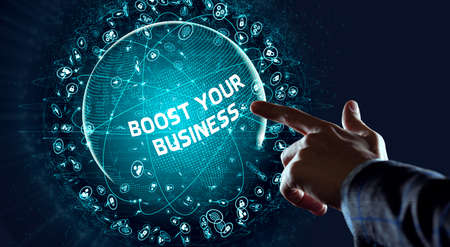 Business, Technology, Internet and network concept. Young businessman shows the word: Boost your business