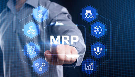 MRP Material Requirement planning Manufacturing Industry Business Process automation. Фото со стока