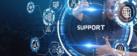 Business, Technology, Internet and network concept. Technical Support Center customer service. Stock Photo