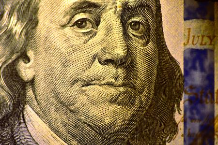 Benjamin Franklin and the United States Declaration of Independence on obverse of the 100 US dollar bill