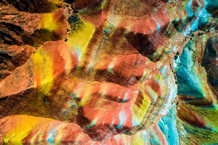 Aerial top down view on Zhangye Rainbow mountains displaying colorful pattern Banco de Imagens - 80205934