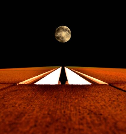Towards the moon – architectural structure and full moon on black background