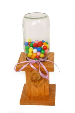 chew over: Wooden Gumball Machine Over White