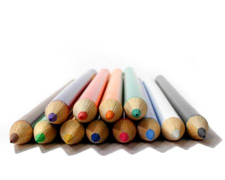 Colored Pencils Over White photo