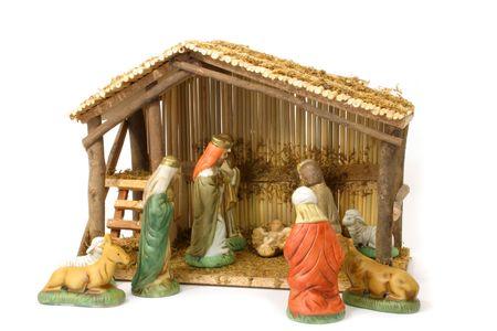 Nativity Scene Over White Banco de Imagens