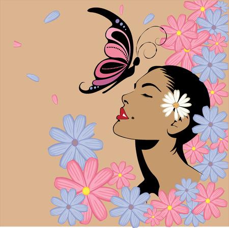 famosos: Vector - cartel de mujer con flores