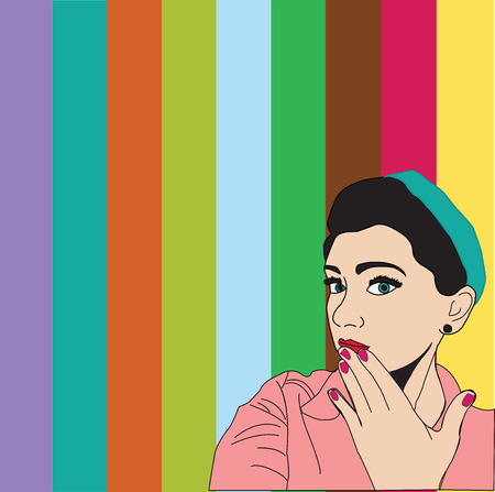 redhead girl: Stock Photo - Beautiful girl looking from the empty board in Pop art style.Pop Art girl. Illustration