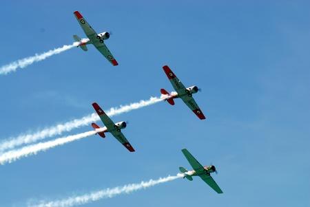 Vintage RNZAF Harvards fly over Editorial