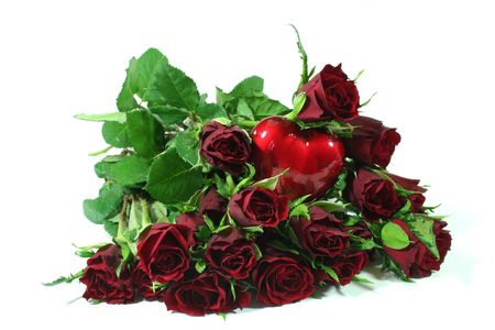 red roses with red heart on a white background