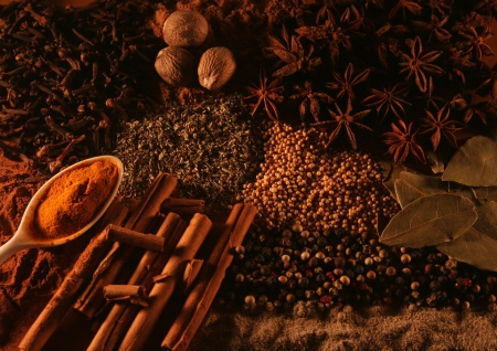 Spices including spoons, anise, Anissterne, mustard seeds, pepper, peppercorns, bay leaves, cinnamon sticks, herbs, paprika, saffron, turmeric and cloves Stock Photo - 6476232