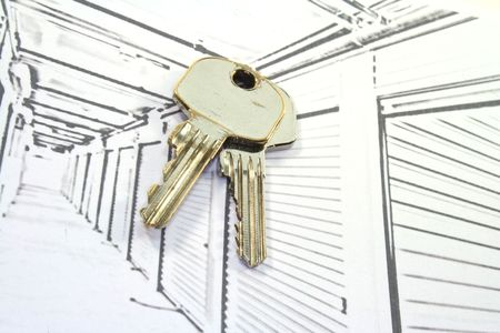 Self Storage Units in corridors perspective with keys Stock Photo - 6726599