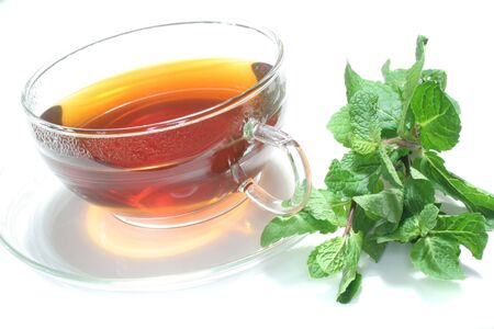 Teacup with mint tea and fresh mint on a white background photo